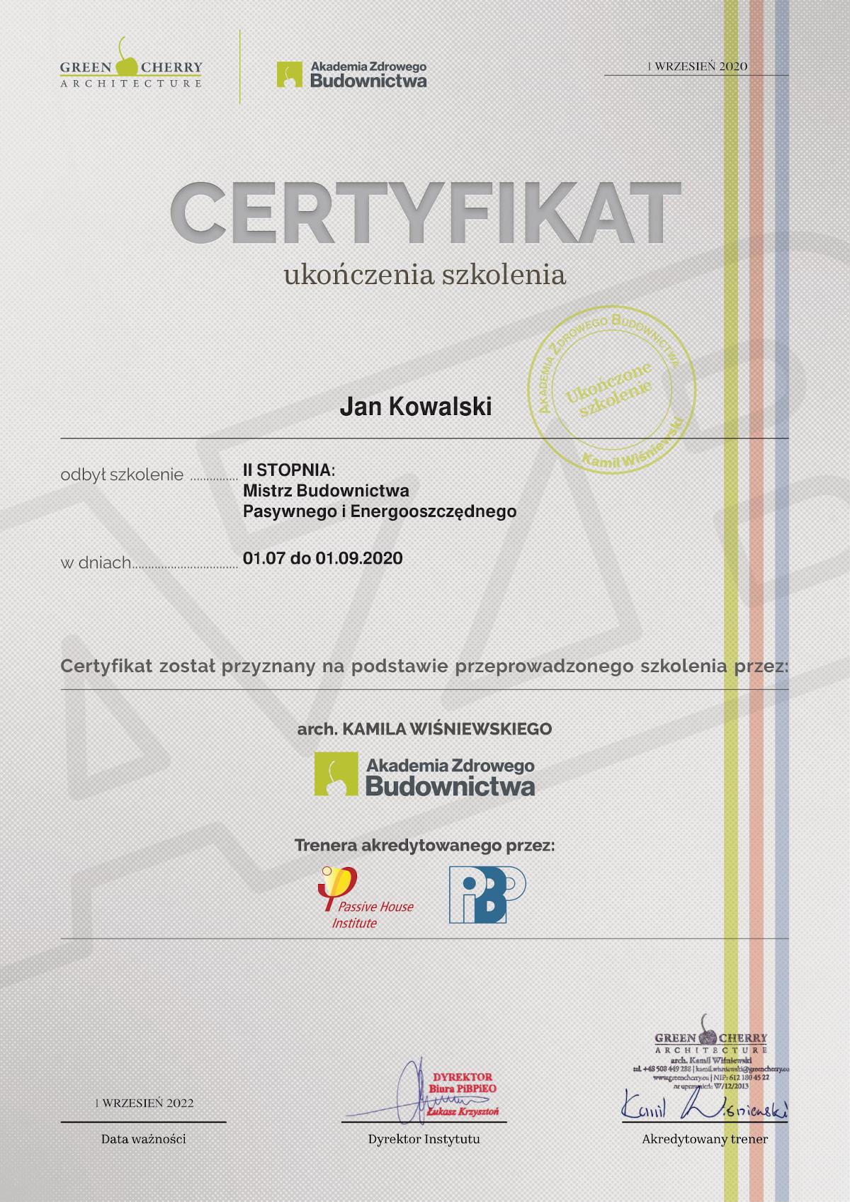 WARIANT A- WZÓR Certyfikatu szkoleń AZB-1